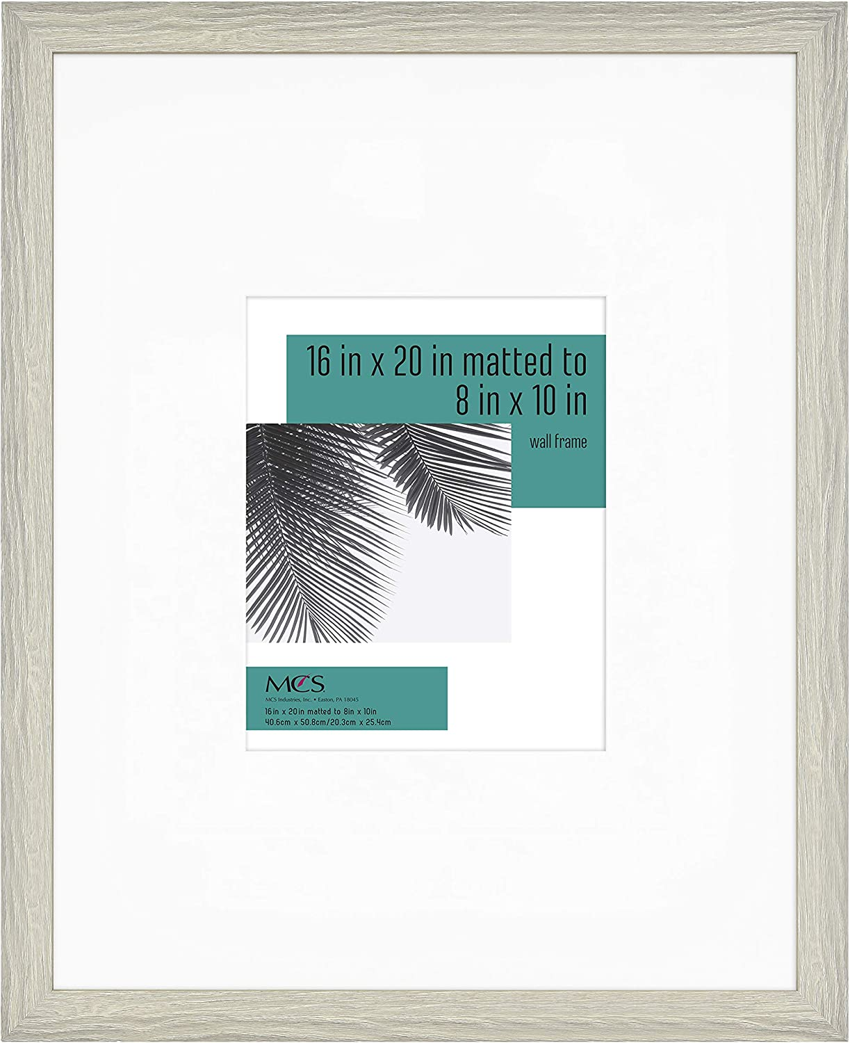 MCS Industries 63994 16x20 Inch Matted to 8x10 Inch, Gray Woodgrain Studio Gallery Frame, 16x20