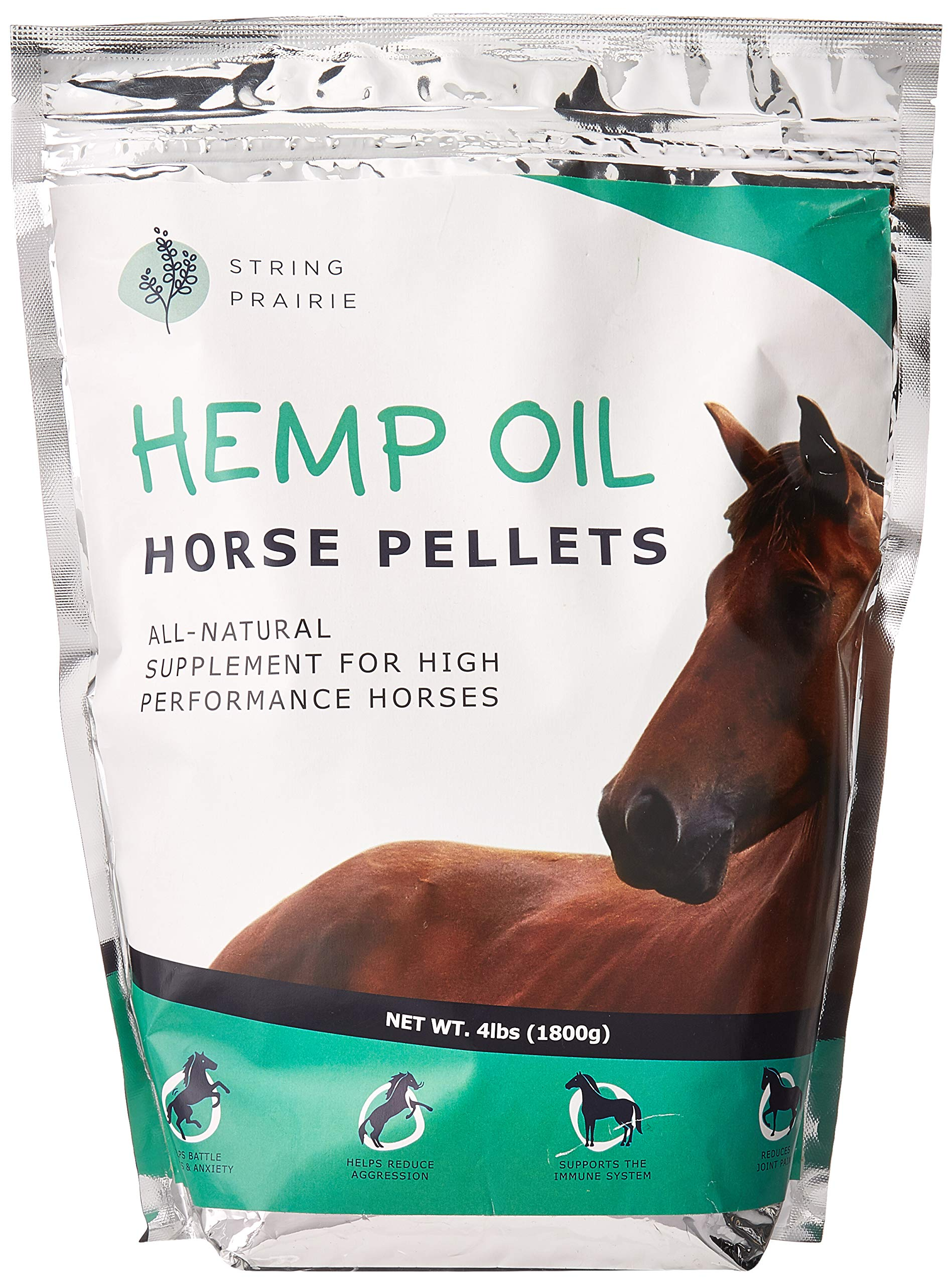 Hemp Horse Pellets - Reduce Pet Stress, Anxiety, and Aggression - Hip and Joint Non-GMO Calming Supplement - Supports The Immune System by String Prairie