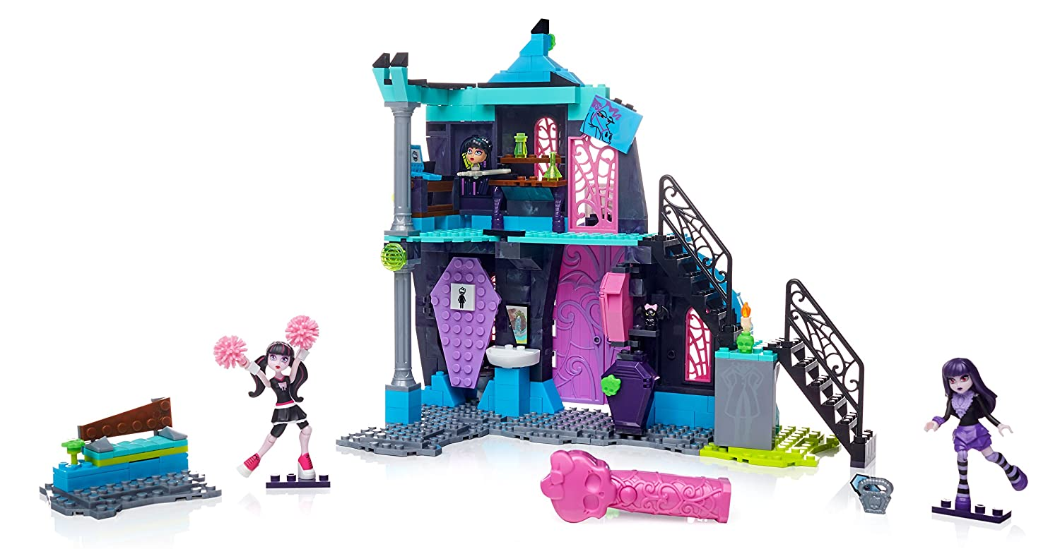Amazon Mega Bloks Monster High School Fang Out Play Set W Draculaura And Elissabat Dolls Toys Games