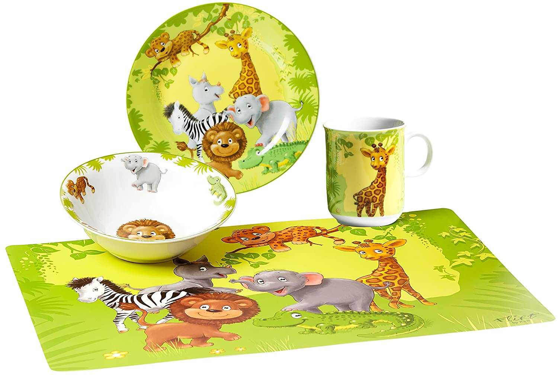 Ritzenhoff /& Breker Stoviglie per bambini Animali della giungla con spazio Matte Set di 4/pezzi