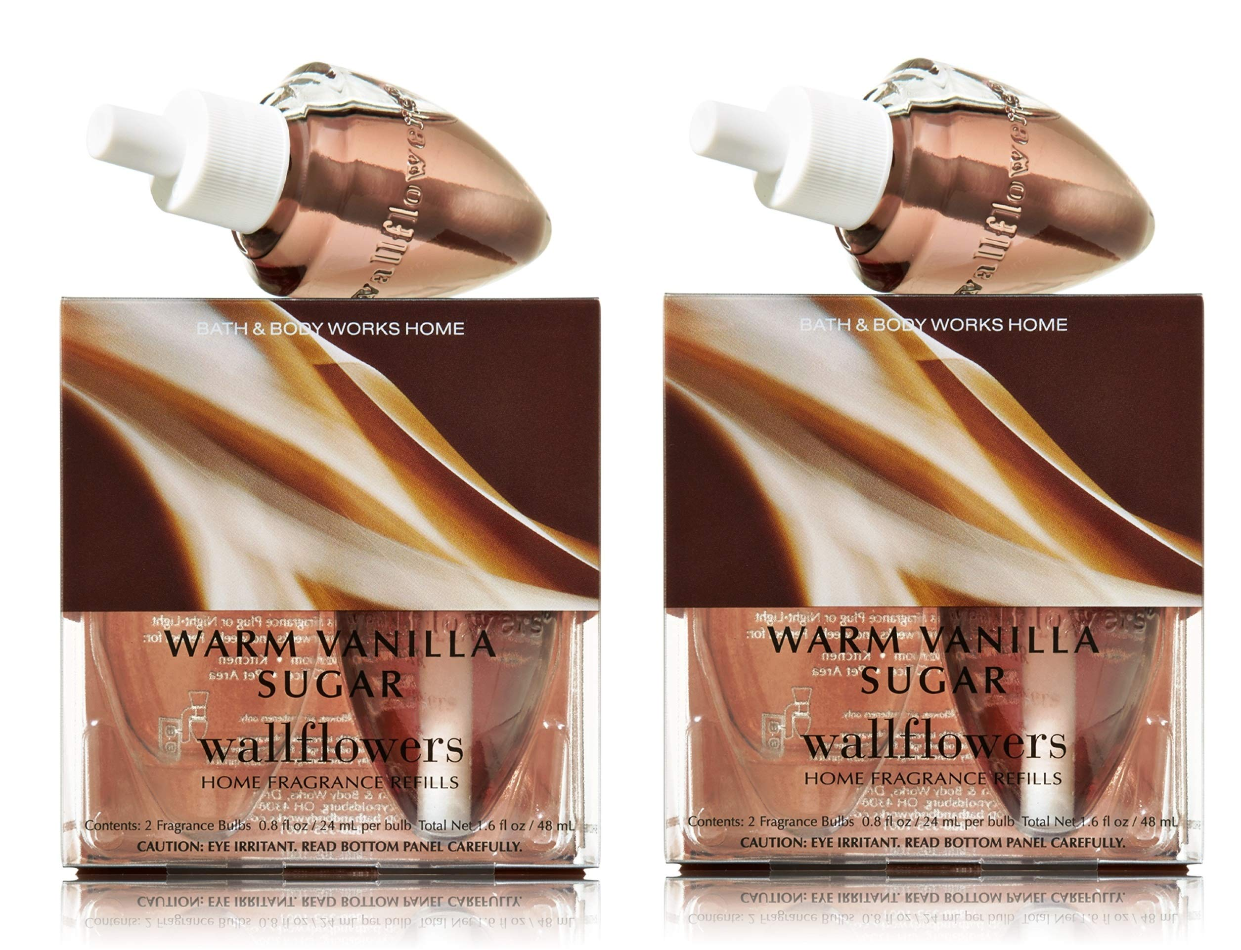 Bath and Body Works Warm Vanilla Sugar Wallflowers - Pair of 2 boxes, 4 refill bulbs