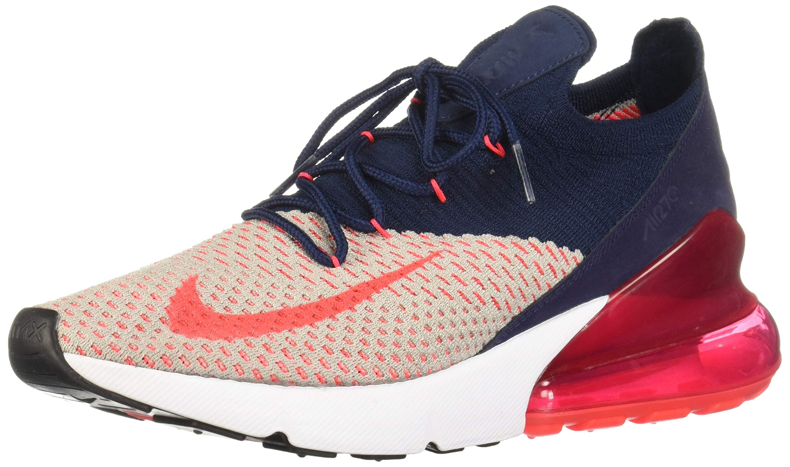 Nike AIR MAX 270 Flyknit Women's (10, Moon ParticleRed OrbitCollege NavyBlueWhite)