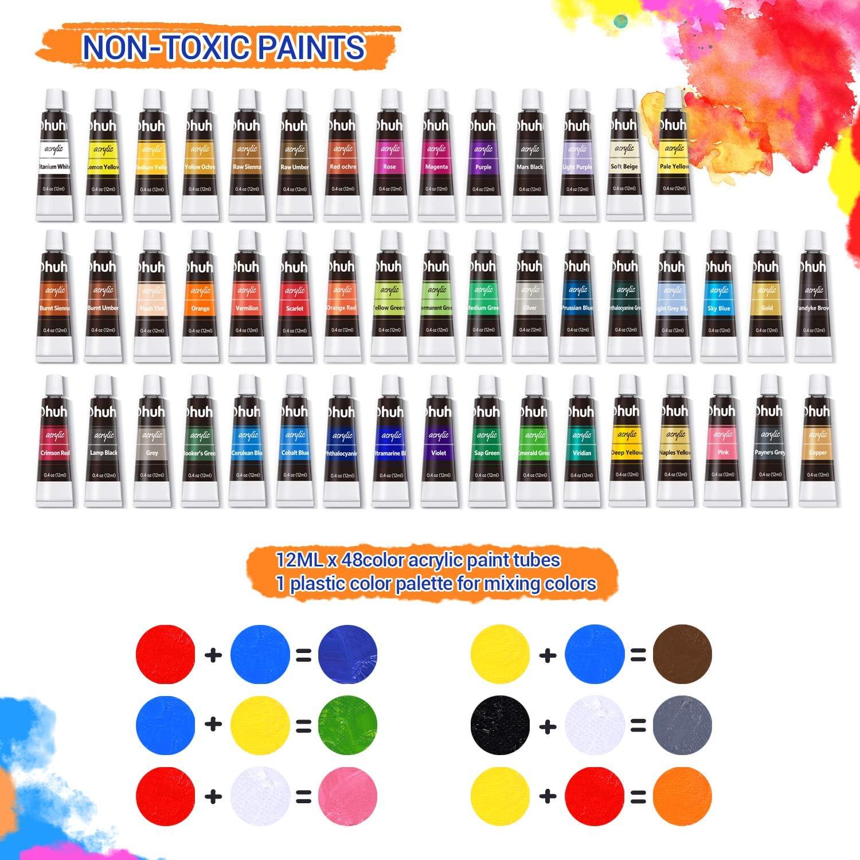 pinceles y almohadillas para pintura art/ística Ohuhu 78 piezas Juego de artista con 48 tubos de pintura acr/ílica Juego de pintura acr/ílica caja de caballete de mesa de madera