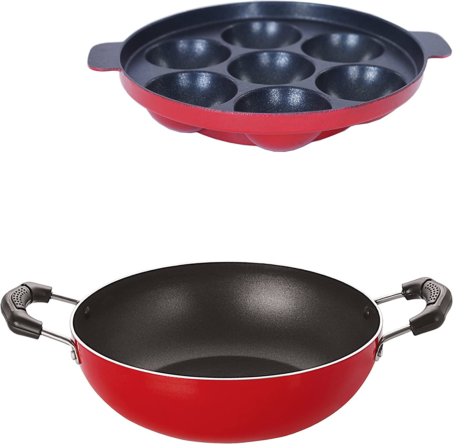 For 411/-(83% Off) Nirlon Non-Stick Aluminium Cookware Set, 2-Pieces, Red (2.6mm_KD11_AP(7)) at Amazon India
