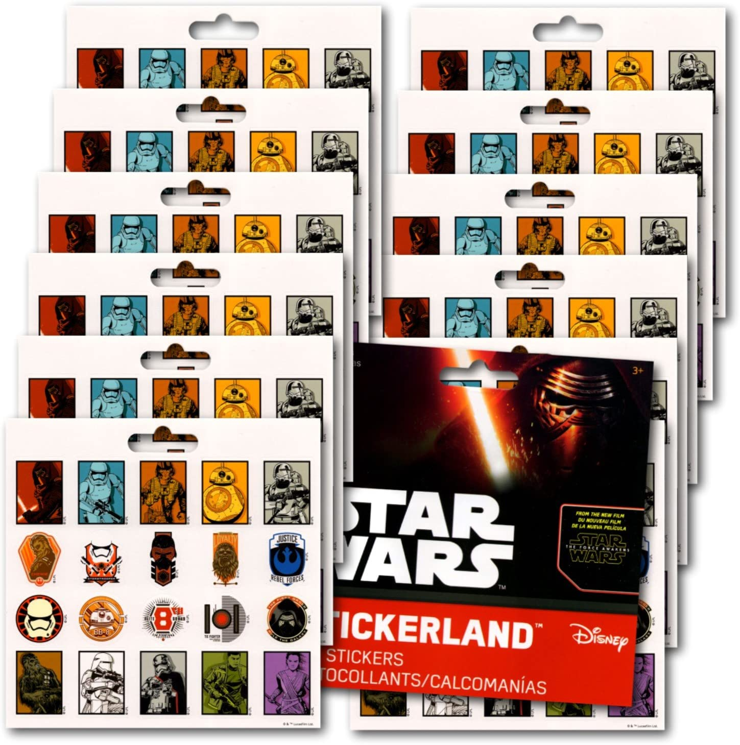 15 Star Wars The Last Jedi Movie Stickers Kid Party Goody Loot Bag Favor Supply