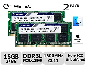 Timetec Hynix IC Apple 16GB Kit (2x8GB) DDR3L 1600MHz PC3L-12800 SODIMM Memory upgrade For MacBook Pro13-inch/15-inch Mid 2012, iMac 21.5-inch Late 2012/ Early/Late 2013(16GB Kit (2x8GB)) (16GB Kit (2 at amazon
