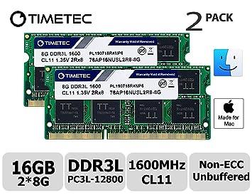 Timetec Hynix IC Apple 16GB Kit (2x8GB) DDR3L 1600MHz PC3L-12800 SODIMM Memory upgrade For MacBook Pro13-inch/15-inch Mid 2012, iMac 21.5-inch Late 2012/ Early/Late 2013(16GB Kit (2x8GB)) (16GB Kit (2 at amazon