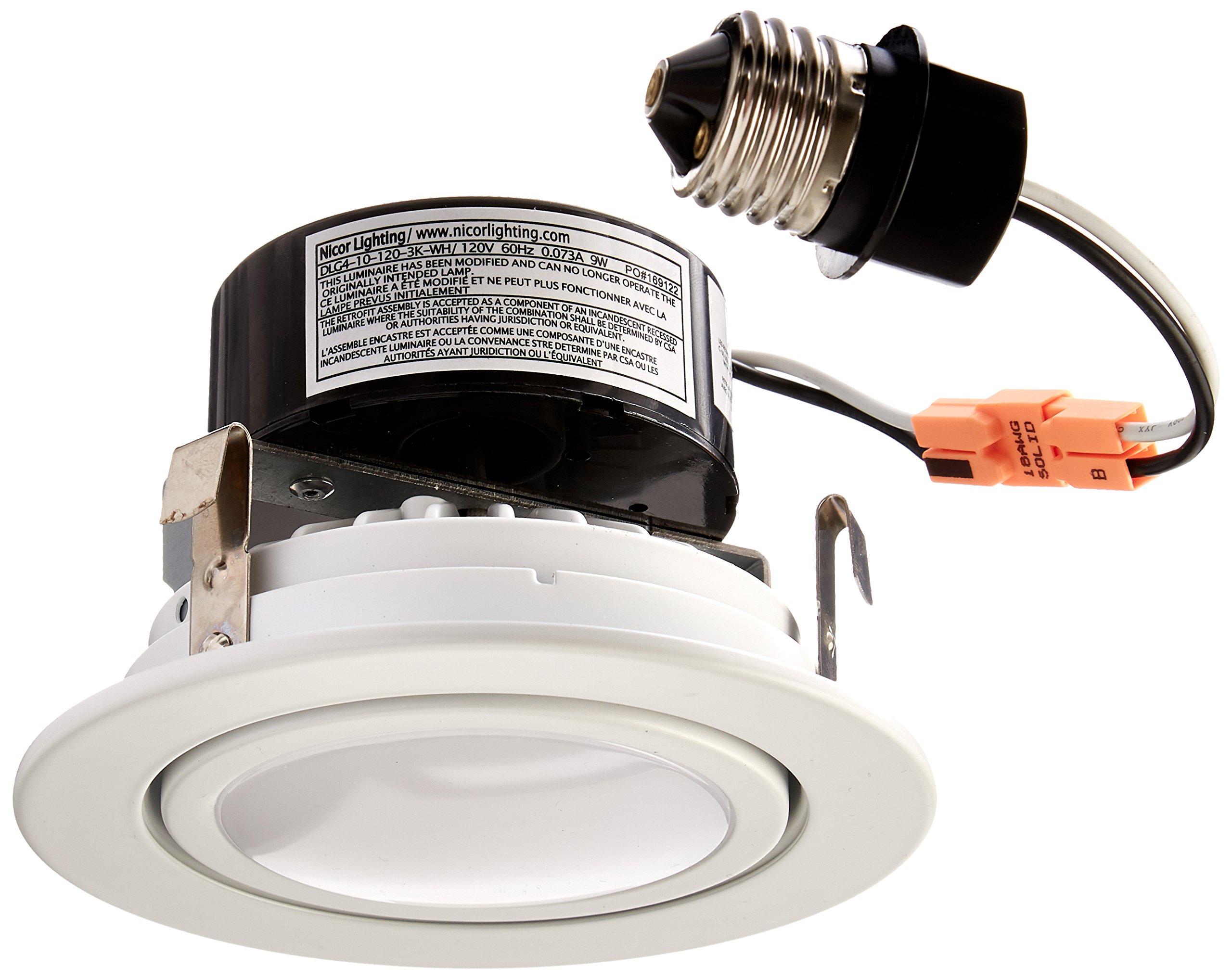 NICOR Lighting 4-Inch Dimmable 3000K LED Gimbal Recessed Downlight, White (DLG4-10-120-3K-WH)
