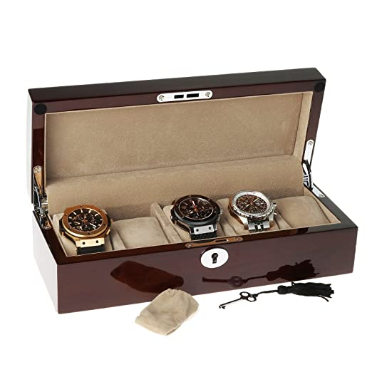 a517ca74d81f Mahogany Watch Collectors Box for 5 watches by Aevitas The Perfect Gift   Amazon.co.uk  Watches