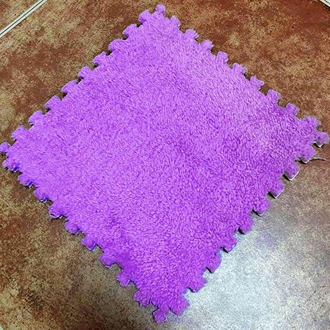 31b952a17db Jiyaru Alfombra Puzzle Estera juegos de piso con vellosidades para Niños o  Gimnasio con Piezas Antideslizantes 30   30   1cm de Goma Espuma EVA Azul  claro  ...
