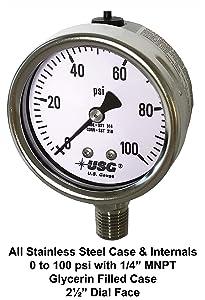 """Ametek US Gauge 2.5"""" Dial Model 656 Liquid Filled All Stainless Steel Pressure Gauge 0 to 100 PSI"""