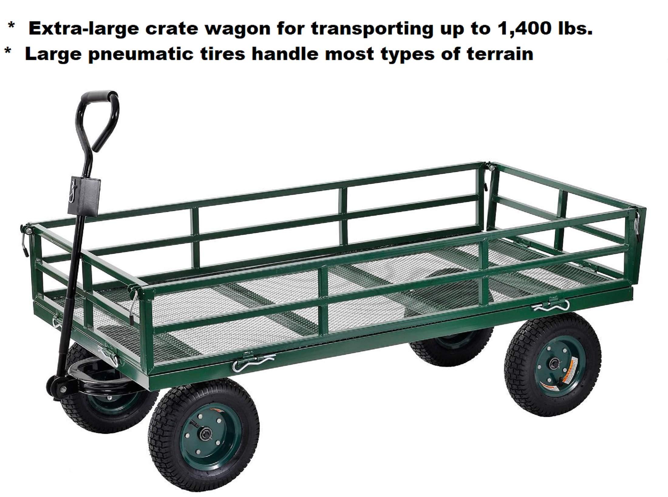 Heavy-Duty Wheelbarrow Utility Crate Wagon - 60'' x 31'' up to 1,400 lbs. Capacity by Generic