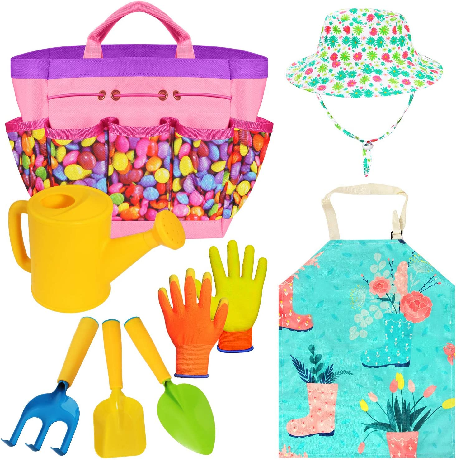 Gardening Tools Toy Set for Girls with Beatiful Storage Bag, Watering Can, Gardening Gloves, Shovels, rake, Apron, Sun Hat kit for Children Kids Outdoor Play and Dress up Clothes Role Play