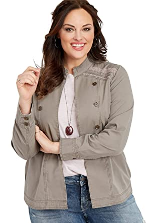 308a4f82d609b maurices Women s Plus Size Crocheted Trim Military Jacket at Amazon ...