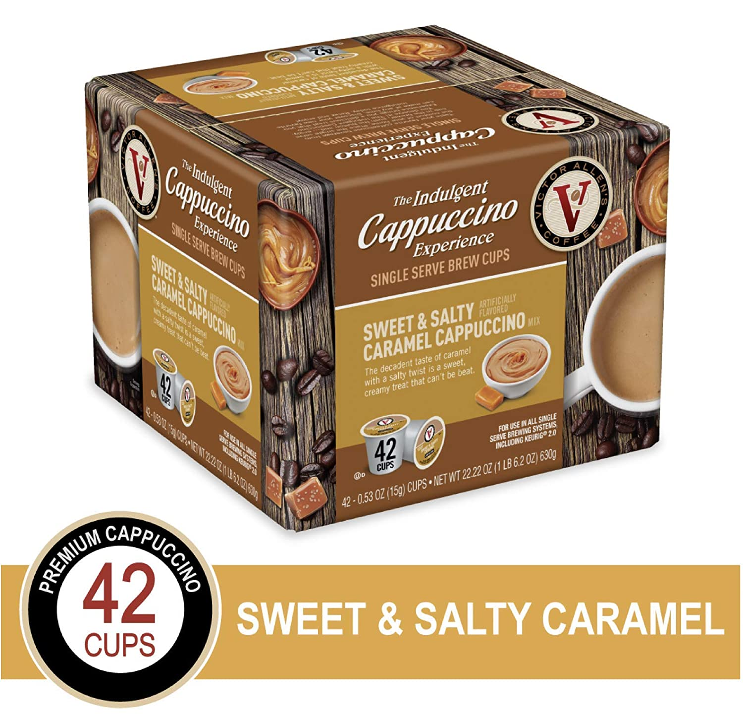 Sweet & Salty Cappuccino for K-Cup Keurig 2.0 Brewers, Victor Allen's Coffee Single Serve Coffee Pods, 42 Count