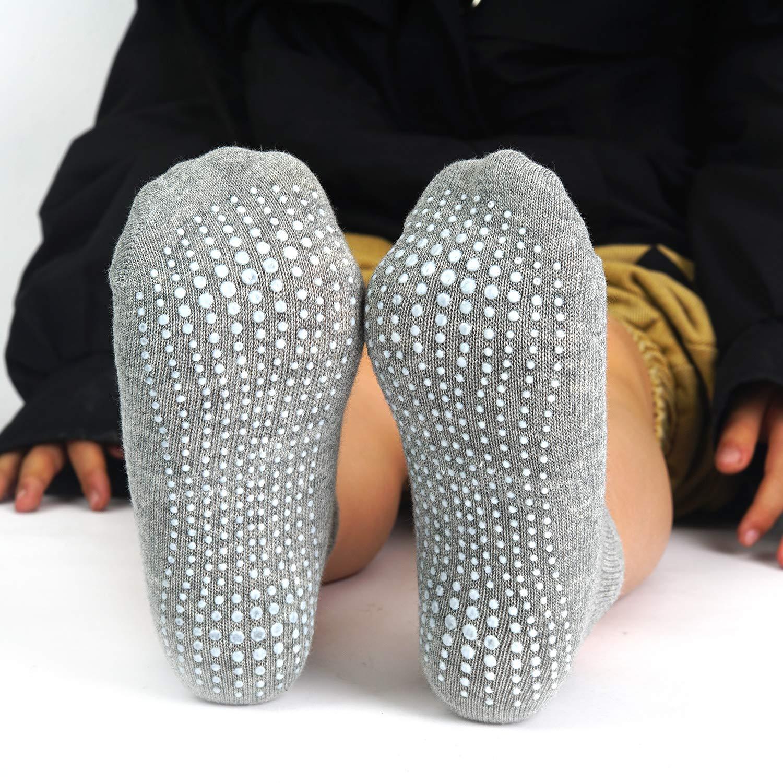 Kids Boys Girls Anti Non Skid/Slip Slipper Crew Socks-6//12 Pairs Aminson Grip Ankle Socks