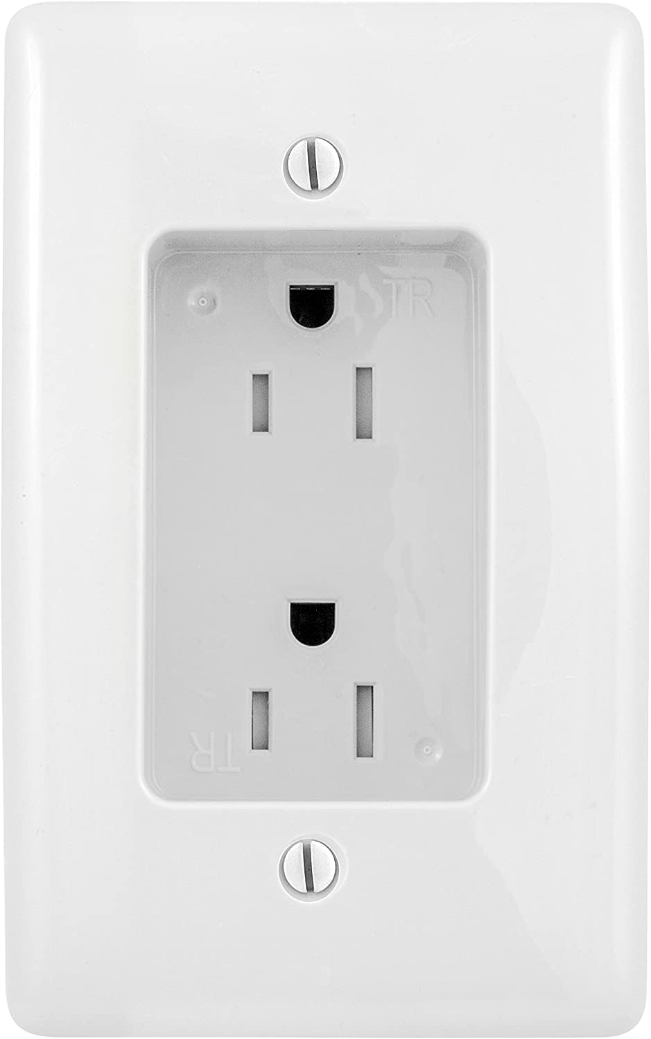Bryant Electric RR1510W Box Mount 1-Gang Recessed TV Connection Outlet Plate with 15 Amp 125V Tamper-Resistant Duplex Receptacle, White
