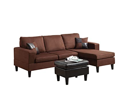 Amazon Com Acme Robyn Chocolate Microfiber Sectional Sofa With