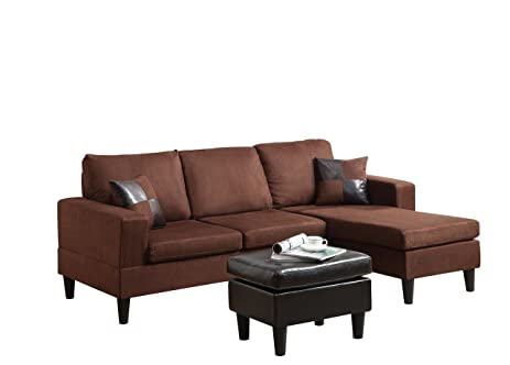 ACME Robyn Chocolate Microfiber Sectional Sofa With Reversible Chaise,  Ottoman, And 2 Pillows