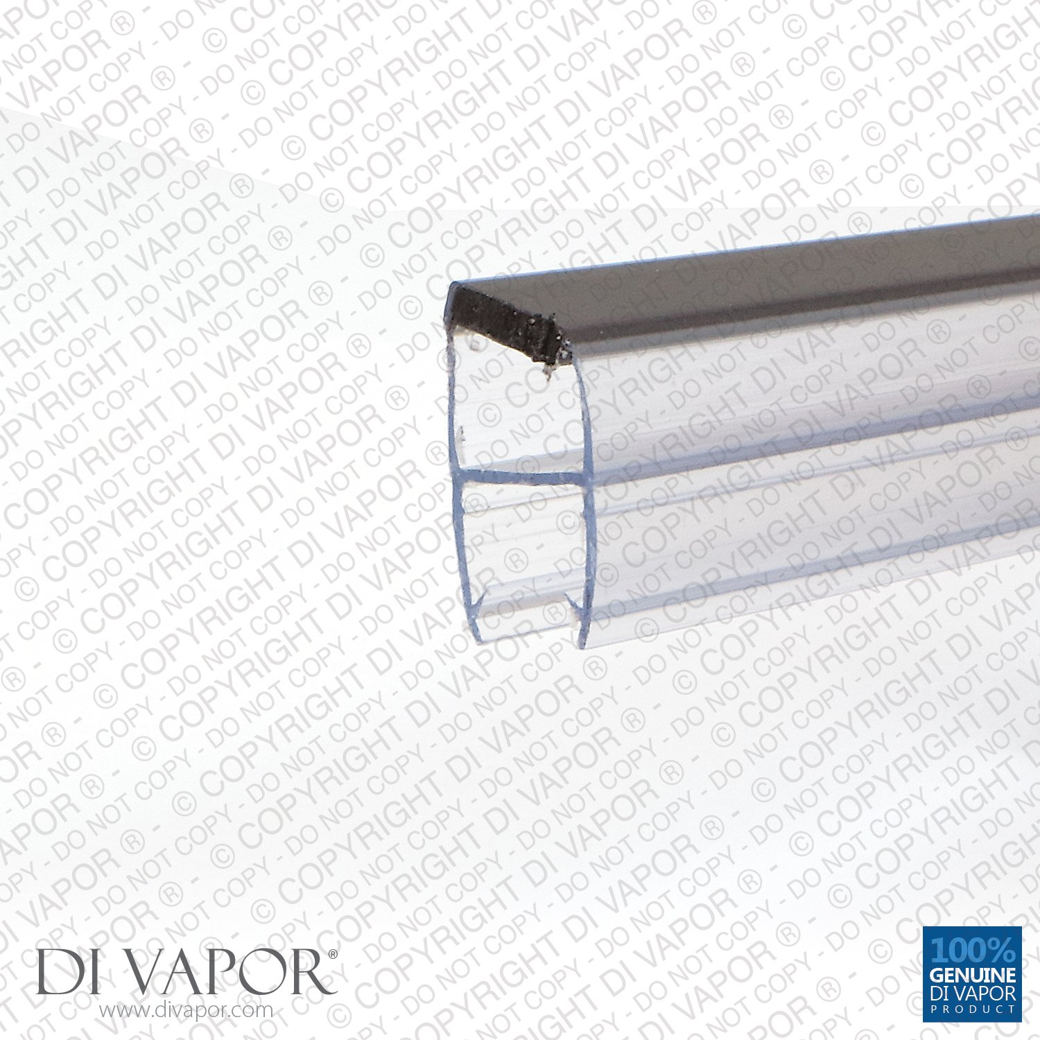 Di Vapor (R) Angled Magnetic Shower Door Seal | 4-6mm/8mm/10mm Glass | 85cm/200c (Glass Thickness: 4-6mm, Seal Length: 2m)