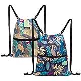 WANDF Drawstring Backpack Original Tote String Bag Sackpack Cinch Water Resistant Nylon for Gym Hiking Travel Beach
