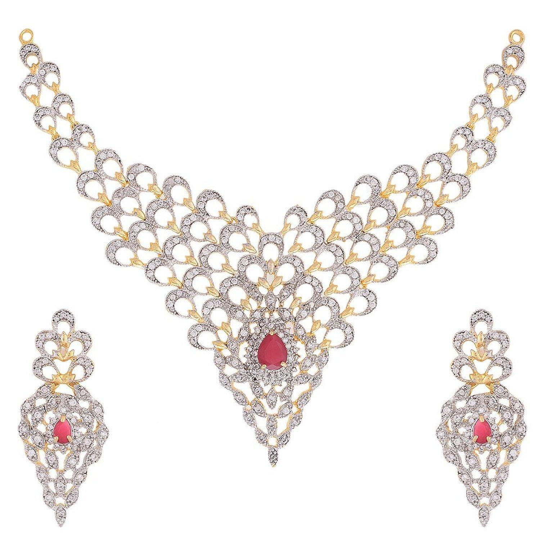 Buy Zeneme Gold Plated American Diamond Necklace Set / Jewellery ...