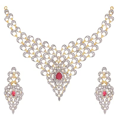 7df0d36372c Buy Zeneme Gold Plated American Diamond Necklace Set   Jewellery Set with  Earrings For Women   Girls Online at Low Prices in India