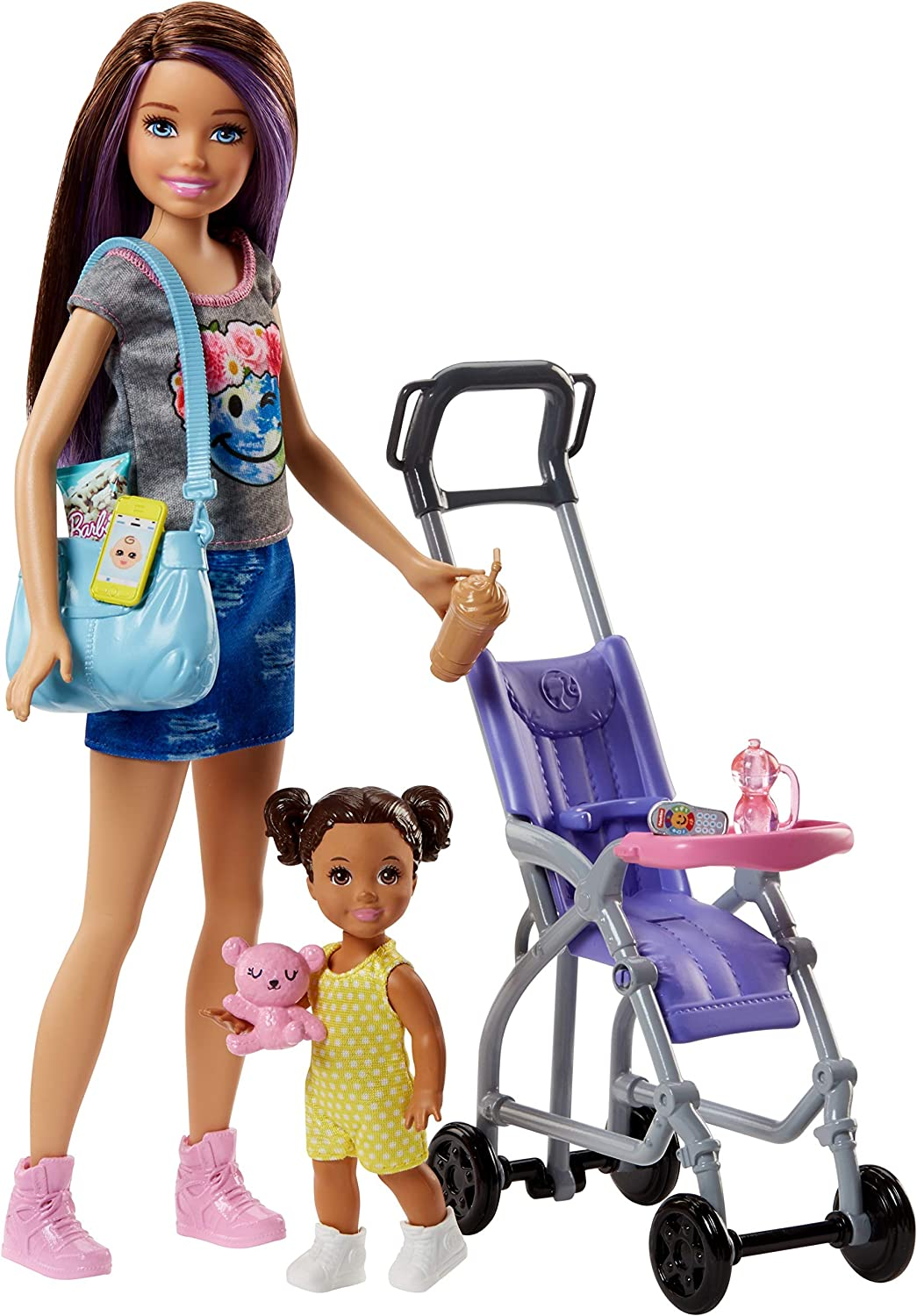 Barbie Babysitters Inc. Doll and Playset Muñeca Skipper hermana, niñera de paseo, multicolor (Mattel FJB00)