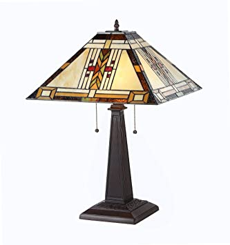 Chloe Lighting CH33291MS16 TL2 U0026quot;GODEu0026quot; Tiffany Style Mission 2 Light  Table