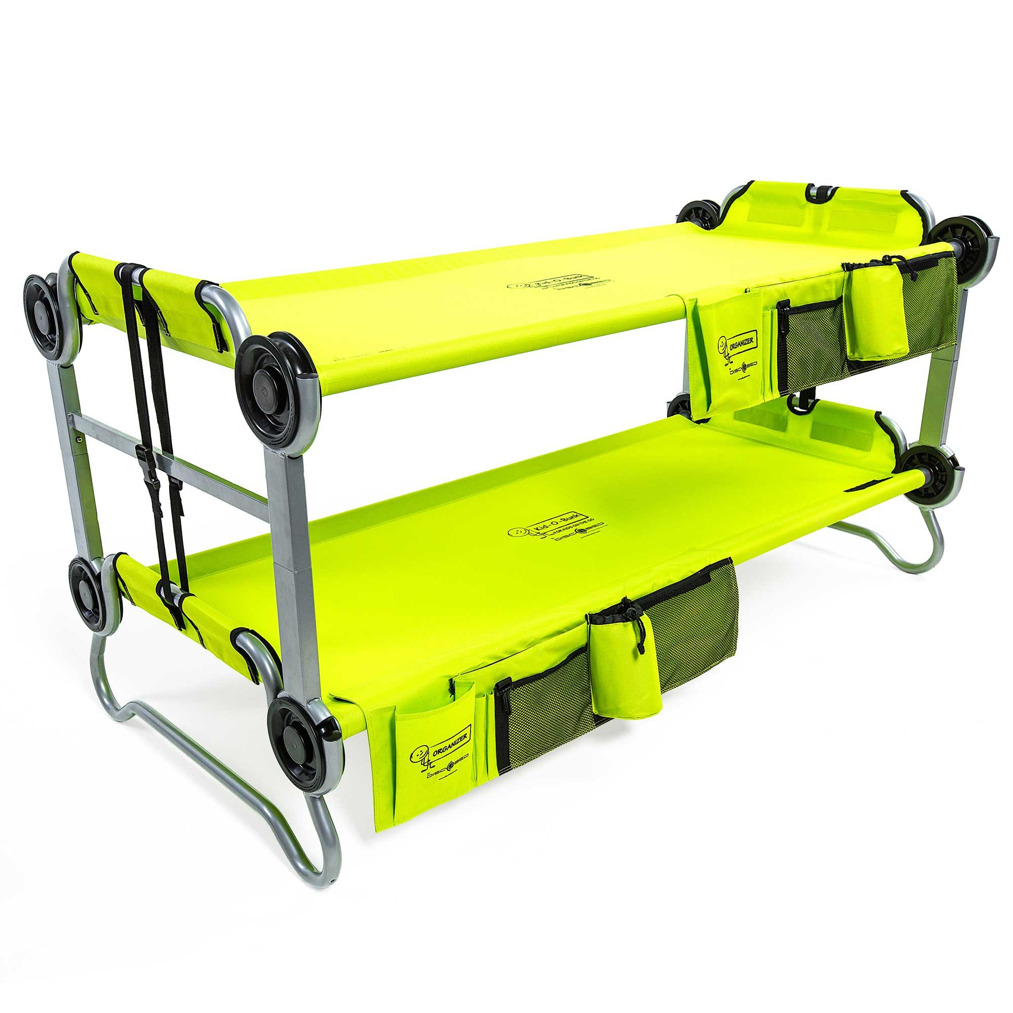 Disc-O-Bed Youth Kid-O-Bunk Benchable Camping Cot with Organizers, Lime Green