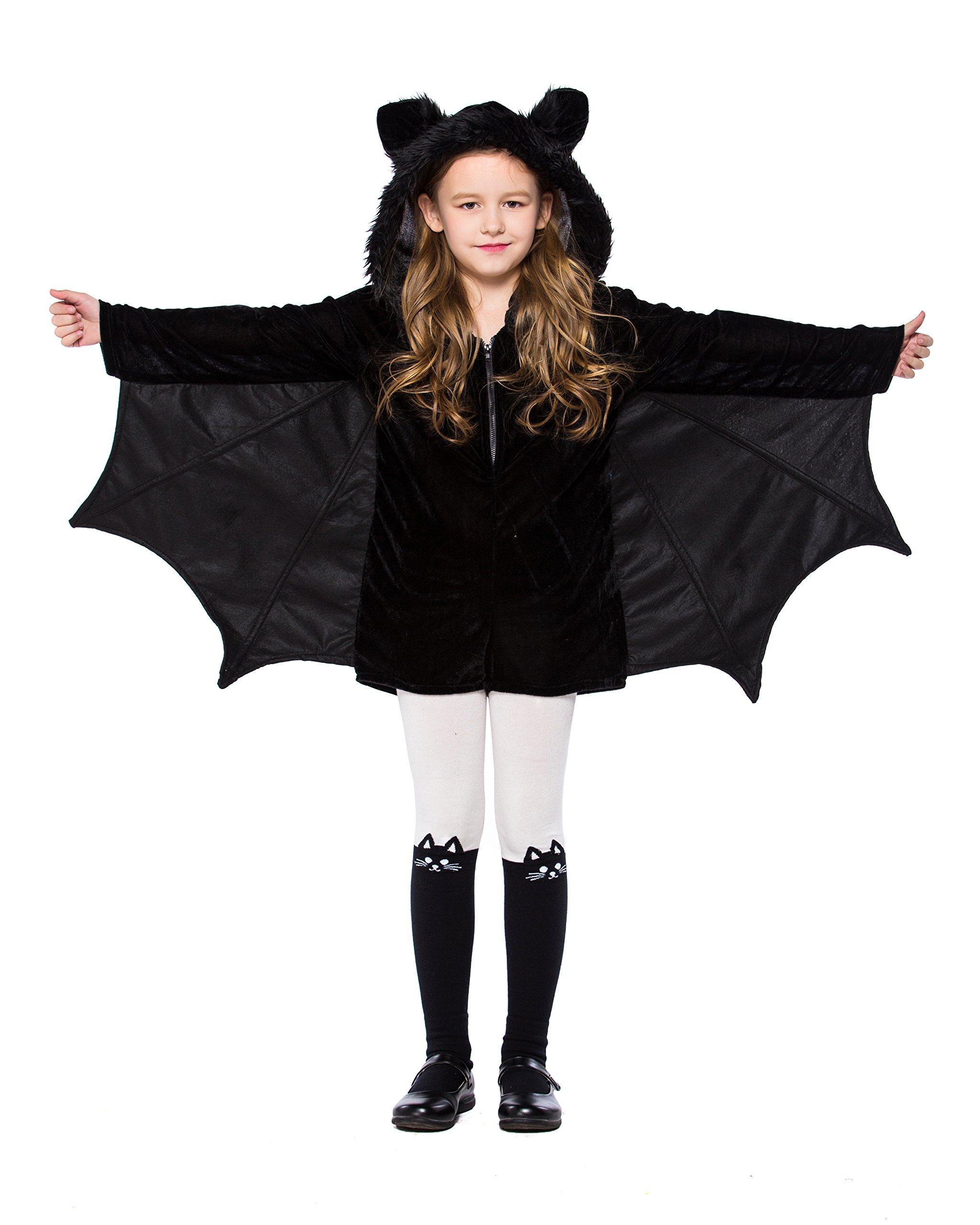 yolsun Girls' Vampire bat Costume, Halloween Animal Cute Dress up (4-6y(Suggested Height:38''-47''), Black-1) by yolsun
