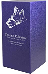 PERSONALIZED Engraved Butterfly Cremation Urn for Human Ashes - Made in America - Handcrafted in the USA by Amaranthine Urns, Adult Funeral Urn - Eaton DL (up to 200 lbs living weight) (Purple Velvet)