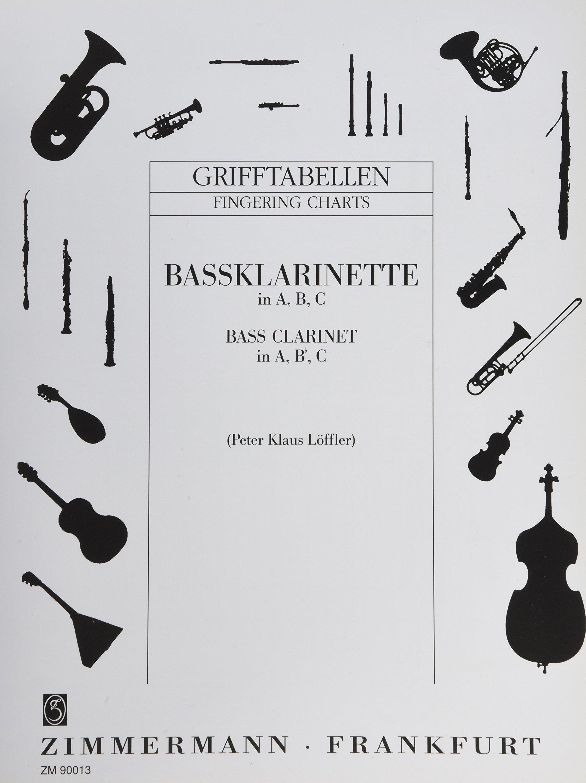 Grifftabelle für Bassklarinette in A, B, C: Bass-Klarinette in A, B, C.