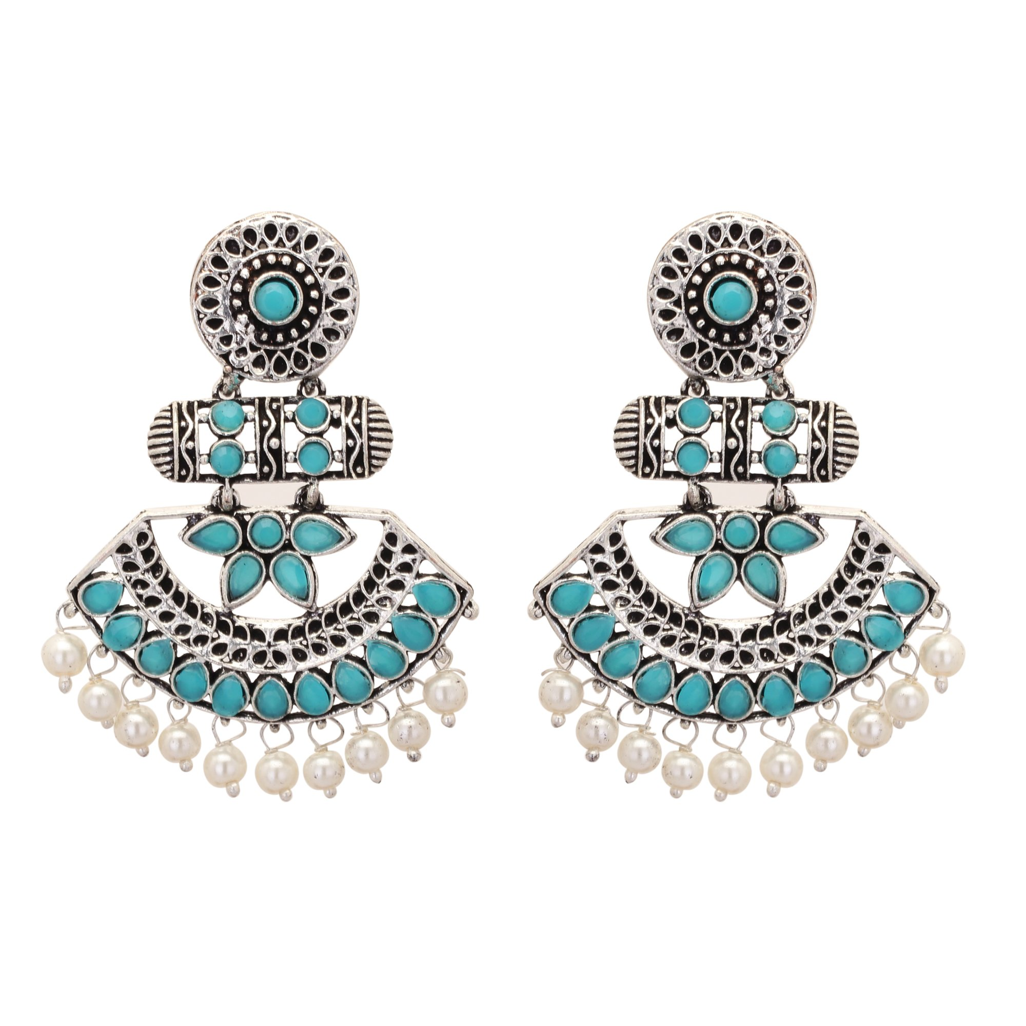 Jwellmart Gypsy Bohemian Tribal German Silver Oxidized Stone Dangle Indian Earrings for Women and Girls (Turquoise)