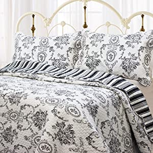 Cozy Line Home Fashions French Medallion Black White Grey Rose Flower Pattern Printed 100% Cotton Bedding Quilt Set Reversible Coverlet Bedspread for Women Men (Black White, King - 3 Piece)