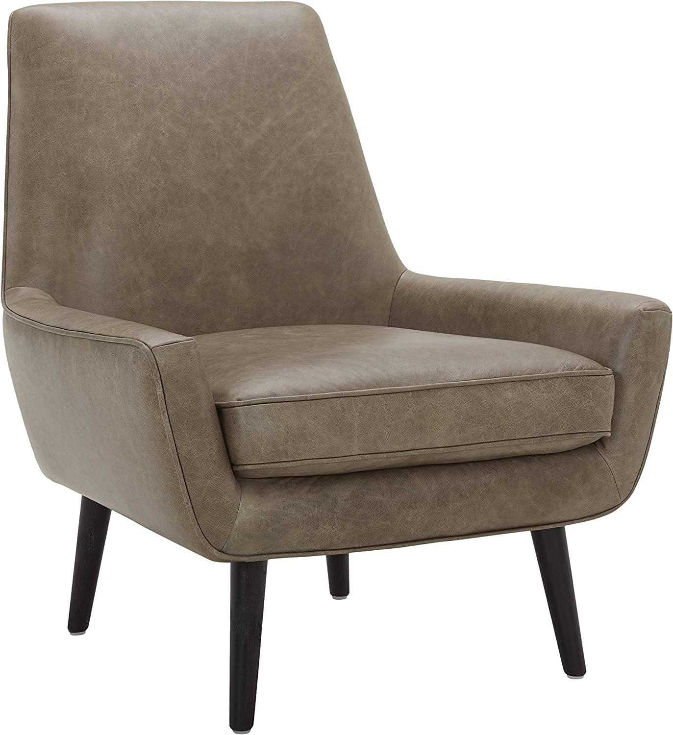 "Amazon Brand – Rivet Jamie Leather Mid-Century Modern Low Arm Accent Chair, 31""W, Grey"