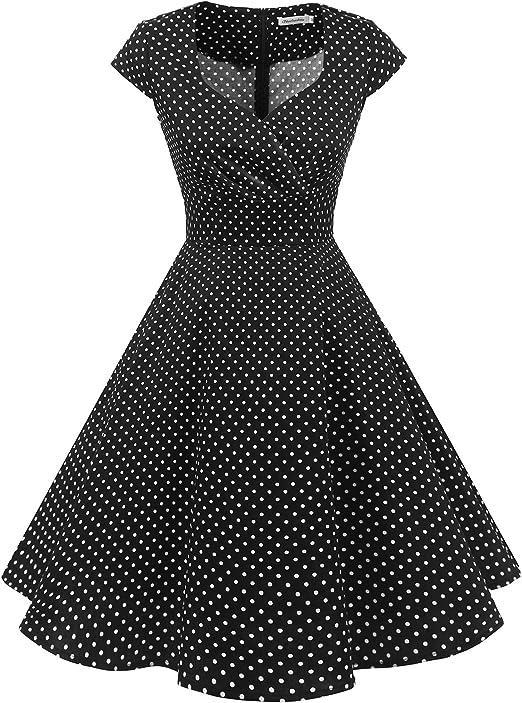 TALLA M. Bbonlinedress Vestido Corto Mujer Retro Años 50 Vintage Escote Black Small White Dot