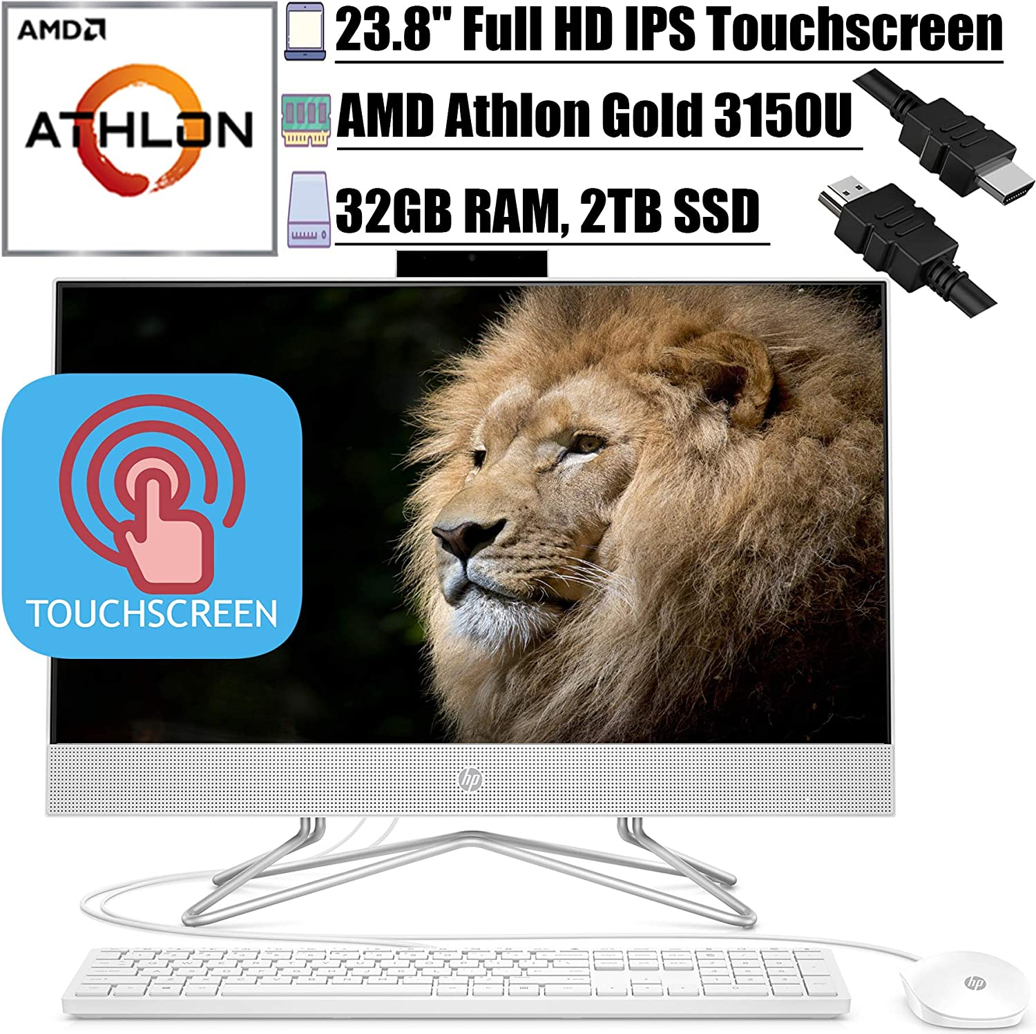 """2020 Flagship HP 24 All in One Desktop Computer 23.8""""FHD IPS Touchscreen Display AMD Athlon Gold 3150U 32GB DDR4 2TB SSD WiFi DVD AMD Radeon Graphics Keyboard and Mouse Win 10 + iCarp HDMI Cable"""