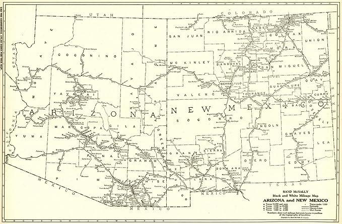 Amazon.com: Historic Map | 1921 Arizona and New Mexico - Black and ...