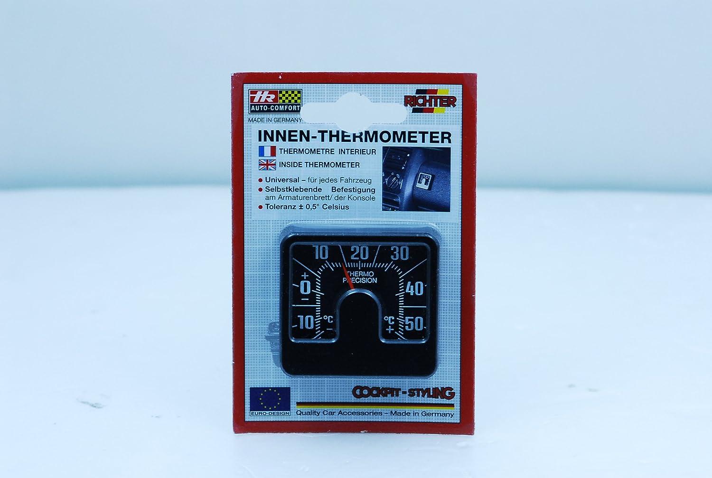 Richter 4696 Universal Auto KFZ Armaturenbrett analoges Thermometer Compact Slim Wetter Gauge klassisches quadratisch