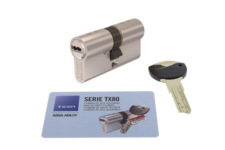 MX803040N 30X40 mm Niquelado Leva corta Tesa Assa Abloy Cilindro de seguridad TX80