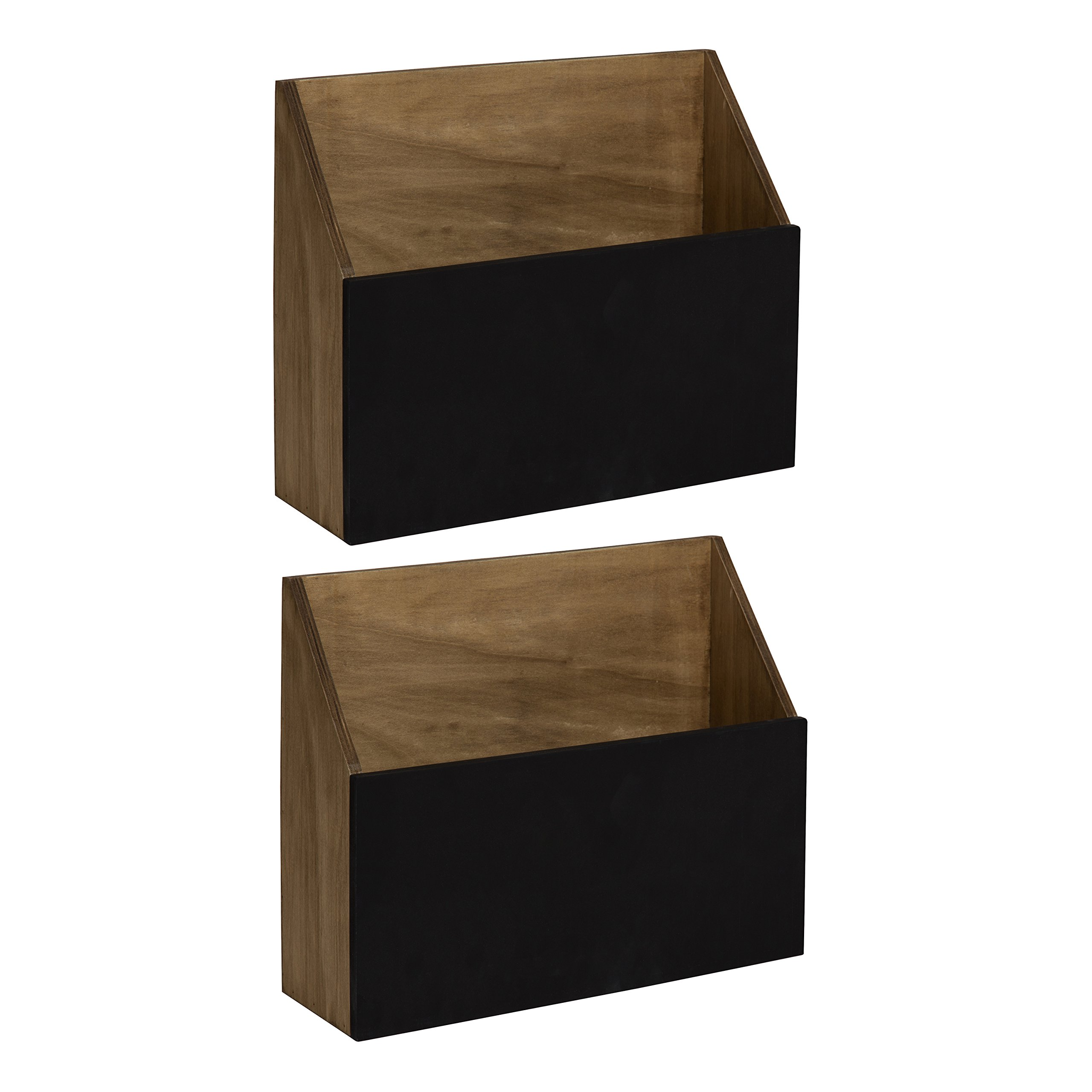 Kate and Laurel Benbrook Wall Pocket Shelves, Light Rustic Brown with Chalkboard Front Panel, Set of 2 by Kate and Laurel