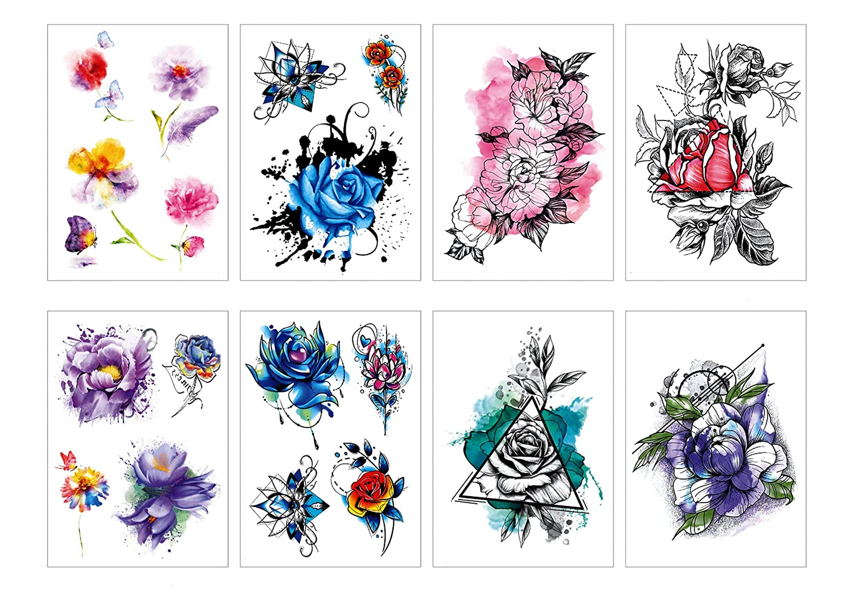 Spestyle 8 piezas/paquete flores tatuaje pegatinas Rose Lotus ...