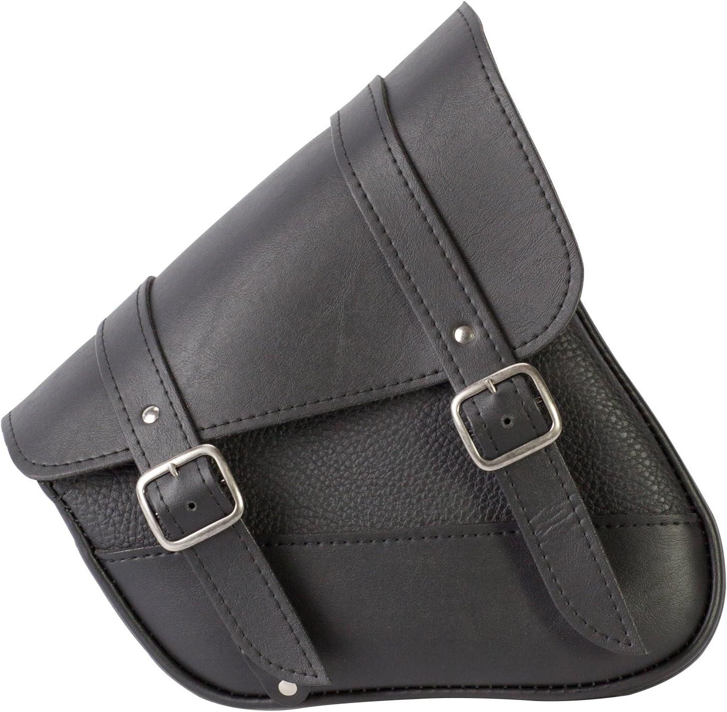 Dowco Willie & Max 59778-00 Synthetic Leather Swingarm Bag: Black, Fits Dual Shock Bikes/Sportster/Yamaha Bolt, 9 Liter Capacity