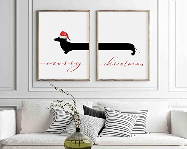 graphic relating to Merry Christmas Sign Printable titled Dachshund Print Established Merry Xmas Signal -