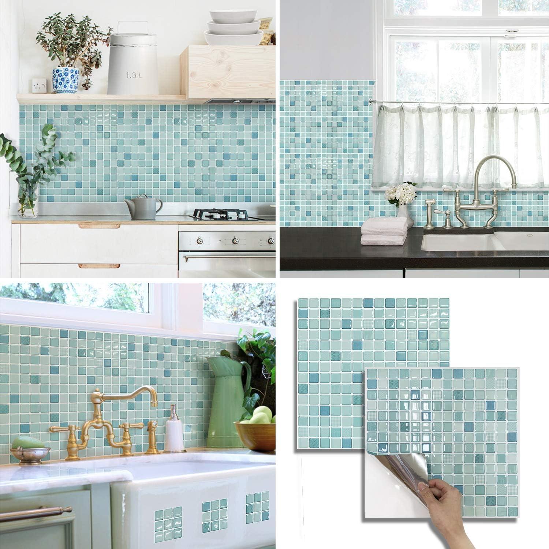 BEAUS TILE Decorative Tile Stickers Peel and Stick Backsplash Fire Retardant Tile Sheet (2pcs) (L, Mint)
