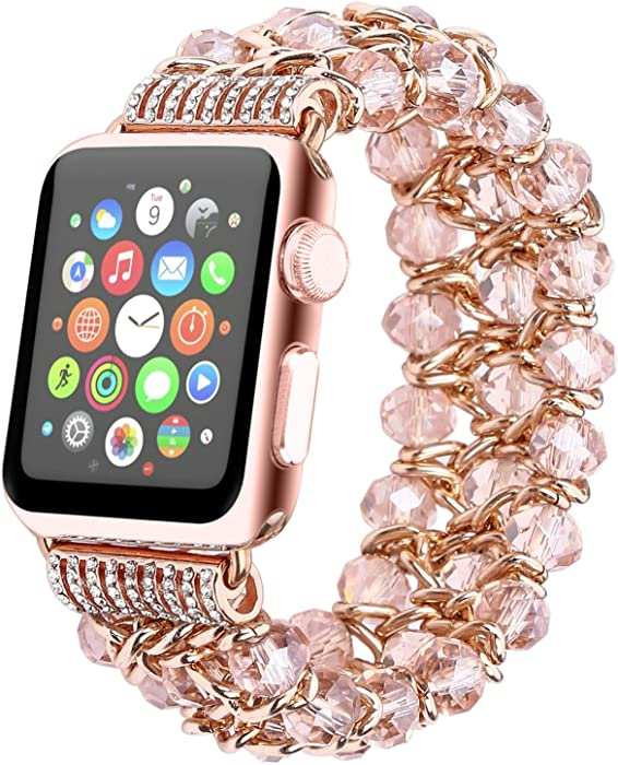 Fohuas Compatible for Apple Watch Bracelet 42mm 44mm Series SE 6 5 4 3 2 1, Crystal Beads Iwatch Band with Metal Chain Fashion Elastic Stretch Bling Pearl rose gold Wristband Strap for Women Girl, Pink
