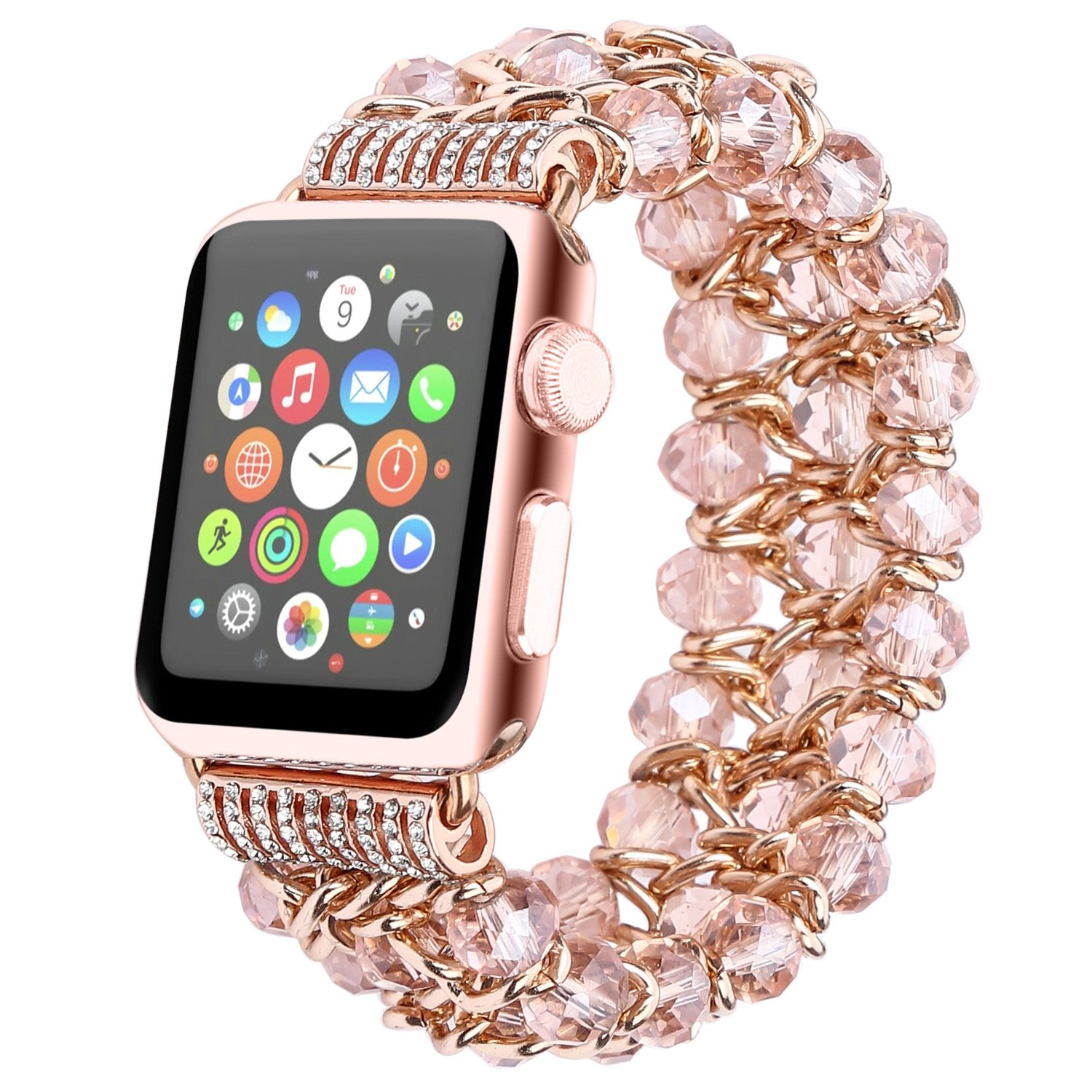 Fohuas for Apple Watch Band 38mm,Fashion Crystal Beads Iwatch Bracelet with Metal Chain Elastic Stretch Women Girls Replacement Strap for iWatch Series 3/2 / 1, Sports, Edition, Hemes, Nike+, Pink