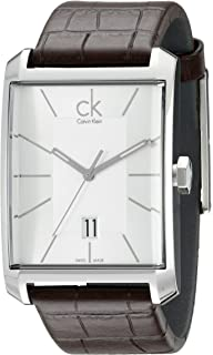Calvin Klein Mens K2M21126 Window Silver Dial Brown Leather Strap Swiss ...