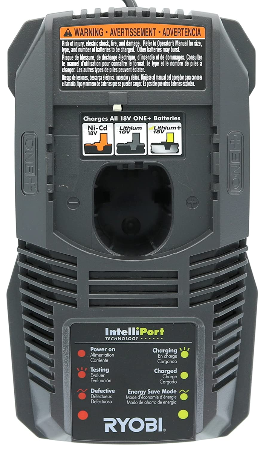 Ryobi P118 Lithium IonDual Chemistry Battery Charger for One+ 18 Volt Batteries (Battery Not Included / Charger Only)